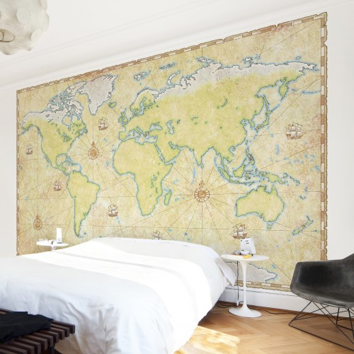 Harta lumii in stil antic - fototapet vlies