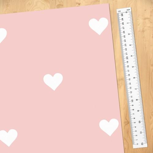 Inimioare albe pe fond roz - fototapet copii