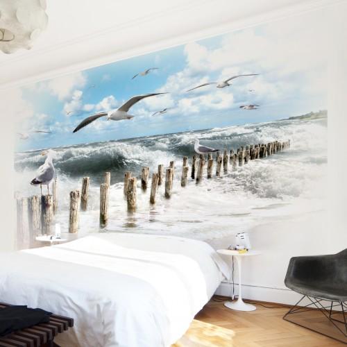 Insula Sylt -fototapet cu pescăruși