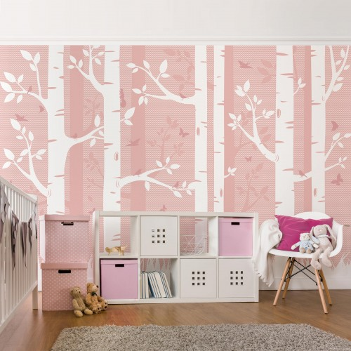 Mesteceni roz cu pasari si fluturi - fototapet vlies