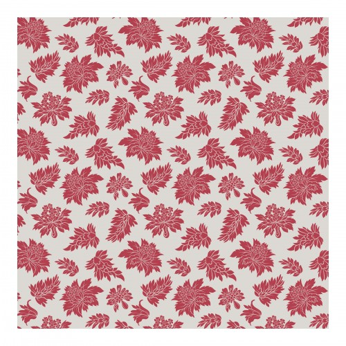 Model baroc cu frunze rosii - fototapet vlies