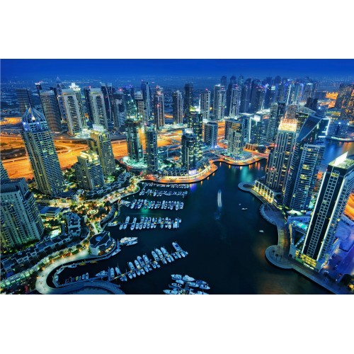 Orasul Dubai pe timp de noapte - fototapet vlies