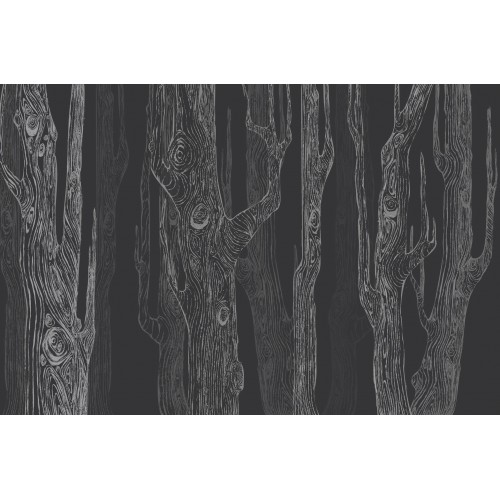 Padurea abstracta in gri antracit - fototapet vlies