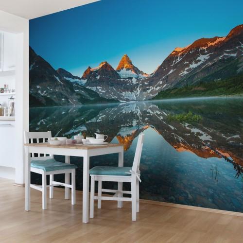 Peisaj de munte in Lacul Magog din Canada - fototapet vlies