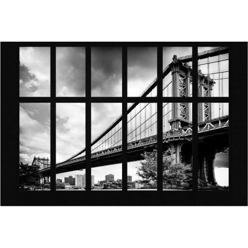Podul Manhattan prin ferestra - fototapet vlies