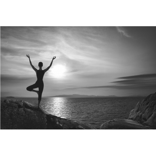 Yoga alb-negru - fototapet vlies
