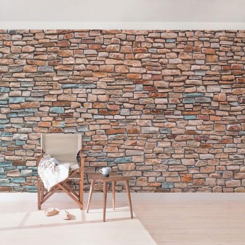 Zid de cărămizi roșii-turcoaz - fototapet vlies