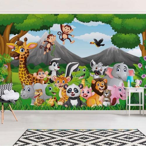 Animale sălbatice din junglă - fototapet copii
