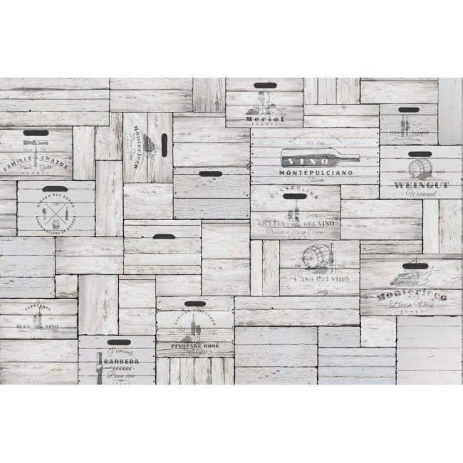 Cutii din lemn gri vintage - fototapet vlies