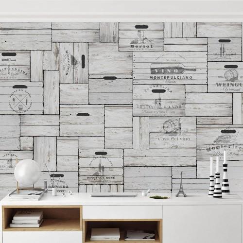 Cutii din lemn gri vintage - fototapet bucătărie