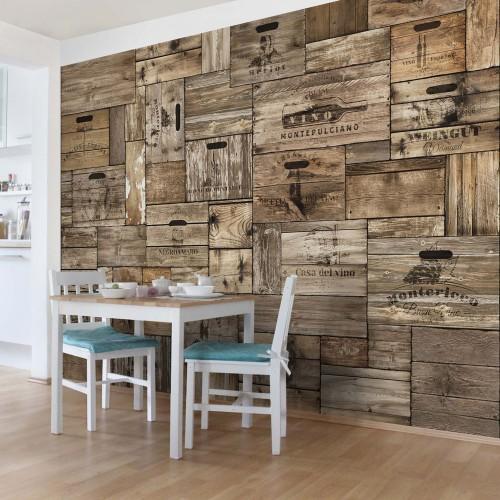 Cutii din lemn maro vintage - fototapet bucătărie
