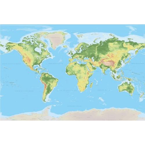 Harta fizică a lumii - fototapet vlies