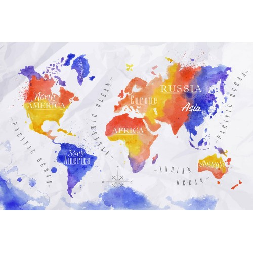 Harta lumii acuarelă în galben, roșu și violet - fototapet vlies