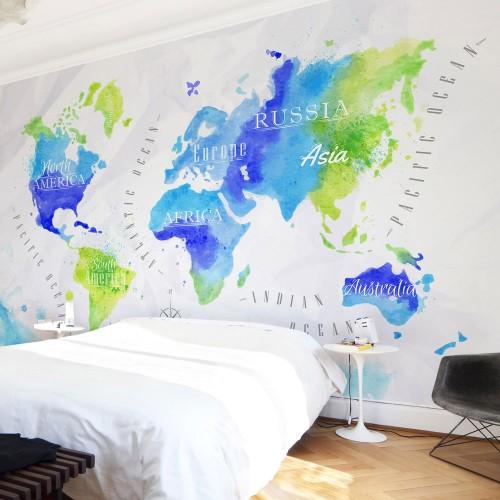 Harta lumii acuarelă în verde și albastru - fototapet vlies