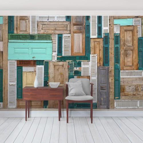 Uși și ferestre din lemn - fototapet vlies